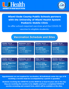 Covid-19 Vaccination Schedule and Sites – July 2021